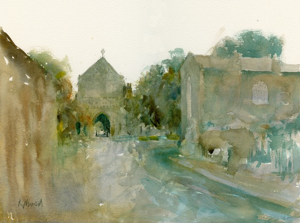 "Ethelbert Gate, Norwich Cathedral. 10"" x 14"" (25 x 35 cms)"