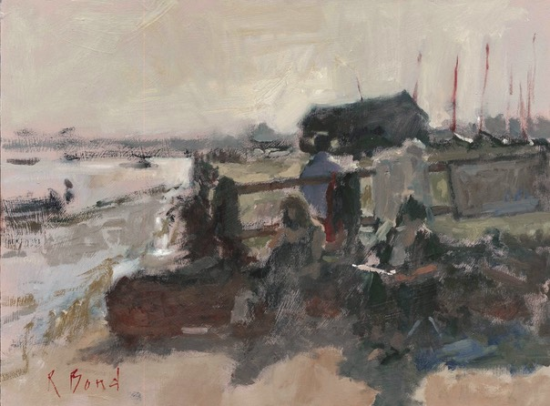 "Painting on the Deben 2. 12"" x 16"" (30 x 40 cms)"